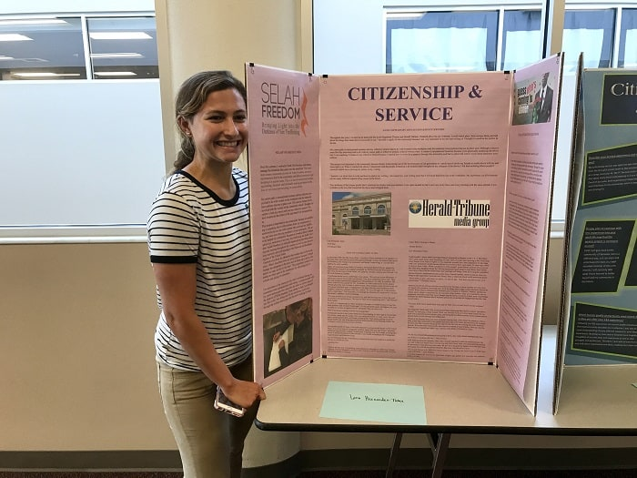 Lara Hernandez Tome shares her experience of her Citizenship & Service project through the Selah Freedom organization.